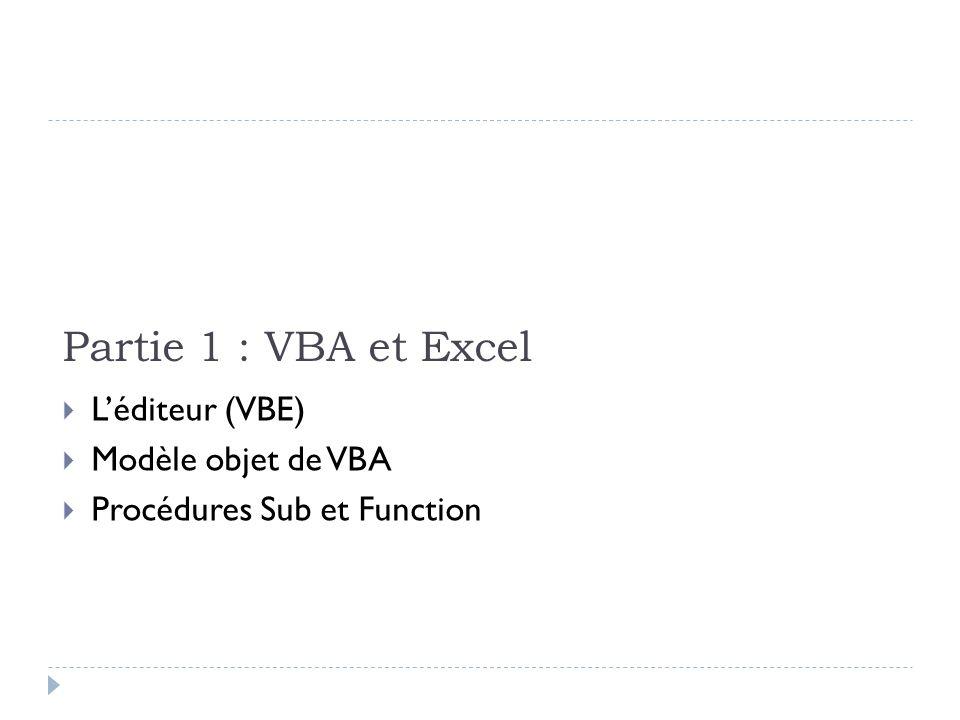 Procédures 2 Types: Sub et Function Une procédure Sub est un groupe d instructions VBA qui exécute une ou plusieurs actions avec Excel Une procédure Function est un groupe d instruction VBA qui exécute un calcul et retourne une seule valeur.