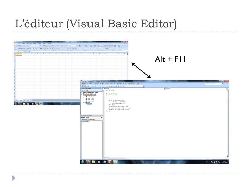 Autres fenetres classiques InputBox Permet de récupérer une valeur entrée par l utilisateur GetOpenFileName Ouvre une boite de dialogue permettant de sélectionner un fichier sur le disque dur GetSaveAsFileName Boîte de dialogue pour enregistrer un fichier