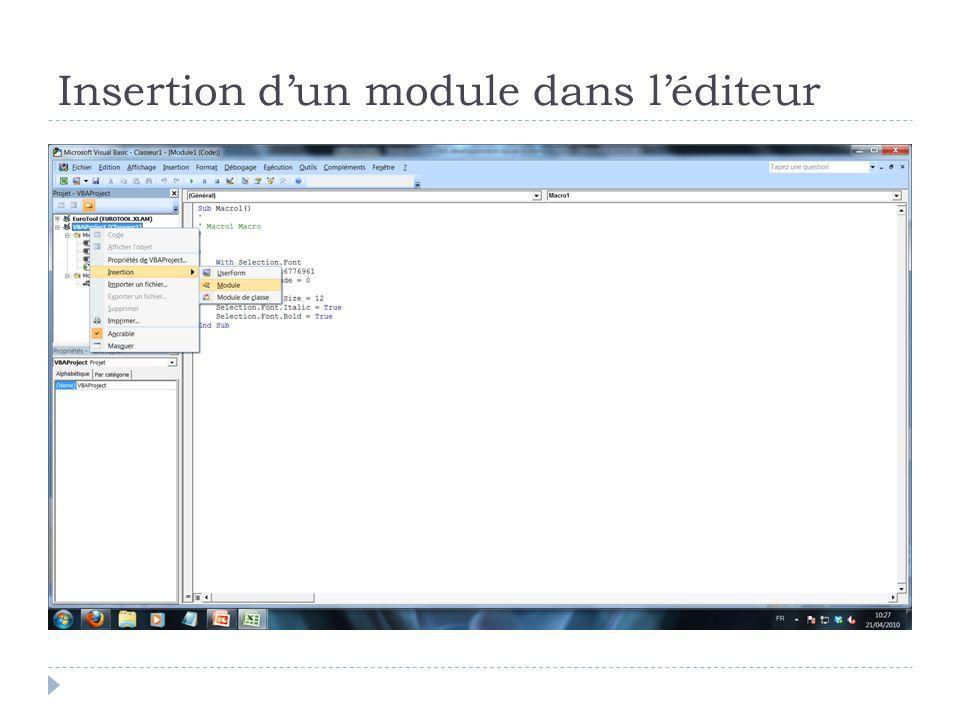 Insertion dun module dans léditeur