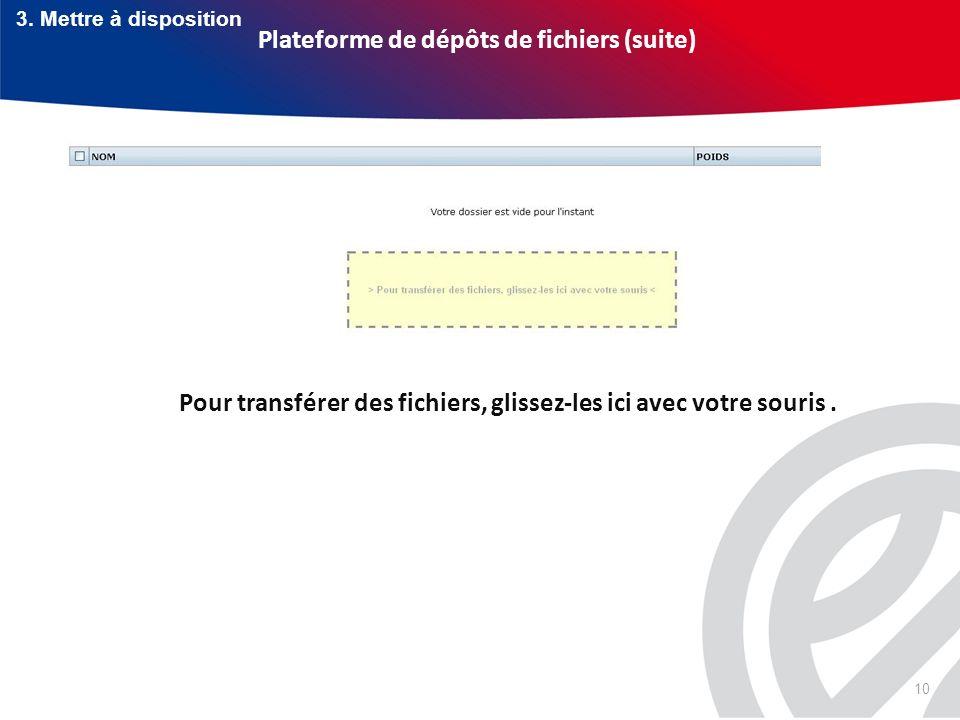 10 Plateforme de dépôts de fichiers (suite) Pour transférer des fichiers, glissez-les ici avec votre souris. 3. Mettre à disposition