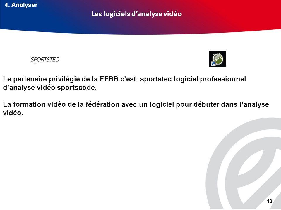 12 4. Analyser Les logiciels danalyse vidéo Le partenaire privilégié de la FFBB cest sportstec logiciel professionnel danalyse vidéo sportscode. La fo
