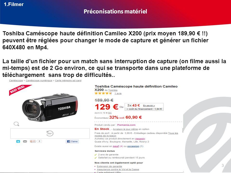 3 Préconisations matériel Toshiba Caméscope haute définition Camileo X200 (prix moyen 189,90 !!) peuvent être réglées pour changer le mode de capture et générer un fichier 640X480 en Mp4.