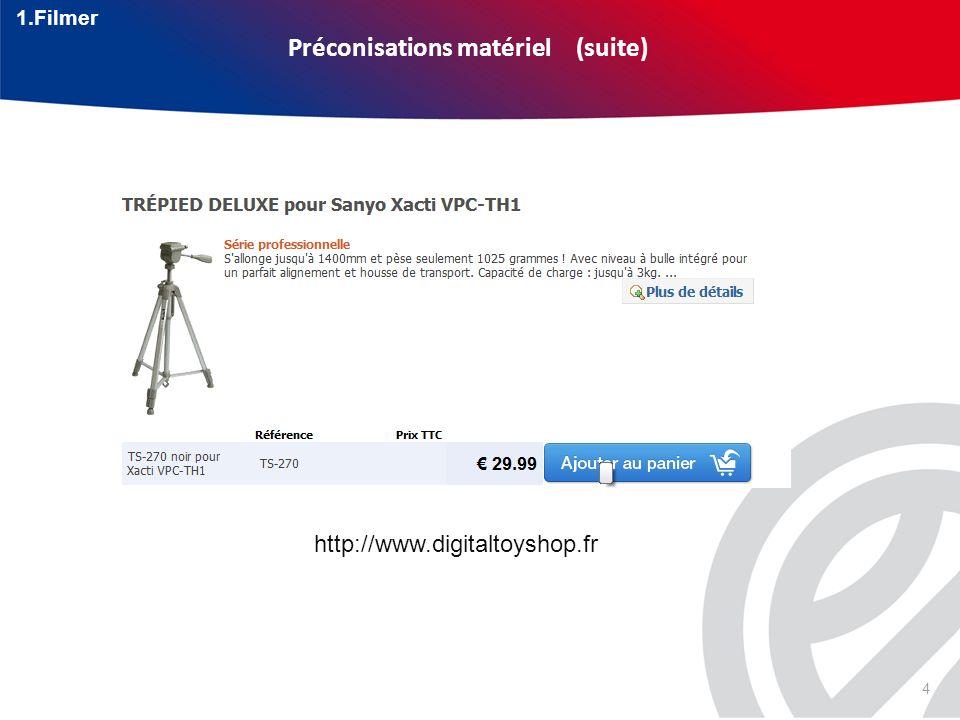 4 Préconisations matériel (suite) http://www.digitaltoyshop.fr 1.Filmer