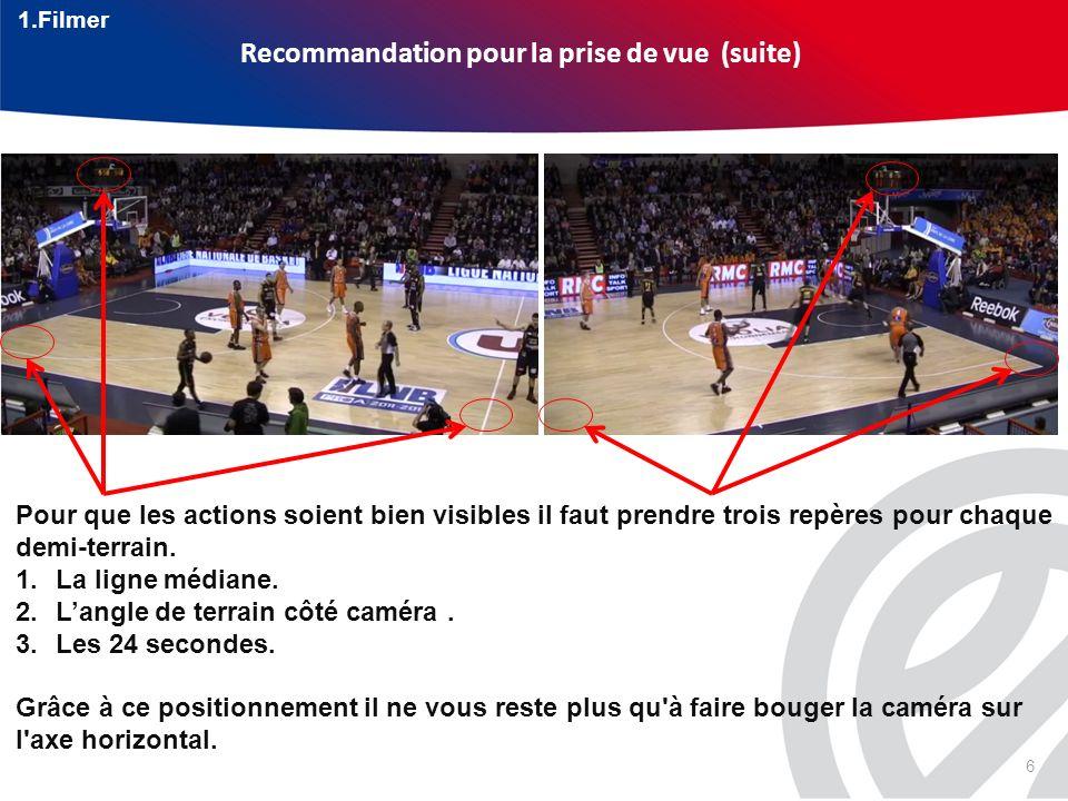 6 Recommandation pour la prise de vue(suite) Pour que les actions soient bien visibles il faut prendre trois repères pour chaque demi-terrain. 1.La li