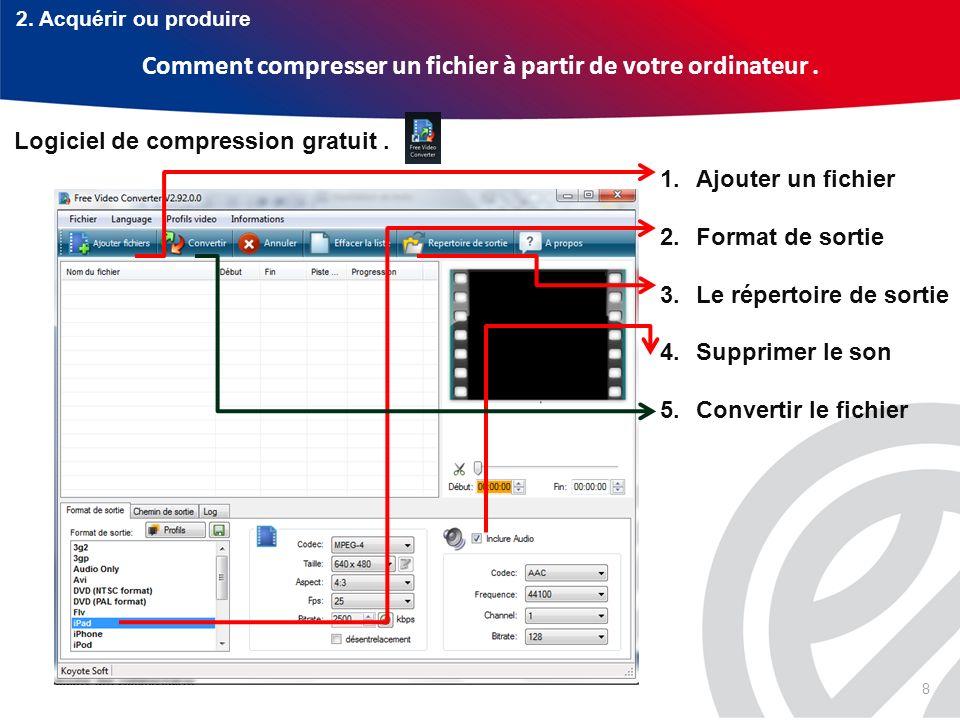 8 Comment compresser un fichier à partir de votre ordinateur. Logiciel de compression gratuit. 1.Ajouter un fichier 2.Format de sortie 3.Le répertoire