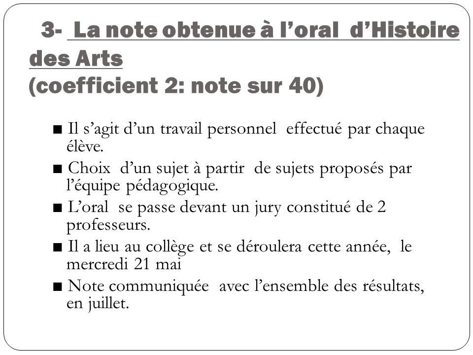 3- La note obtenue à loral dHistoire des Arts (coefficient 2: note sur 40) Il sagit dun travail personnel effectué par chaque élève. Choix dun sujet à