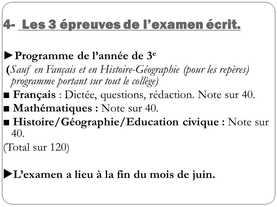 4- Les 3 épreuves de lexamen écrit. Programme de lannée de 3 e (Sauf en Fançais et en Histoire-Géographie (pour les repères) programme portant sur tou