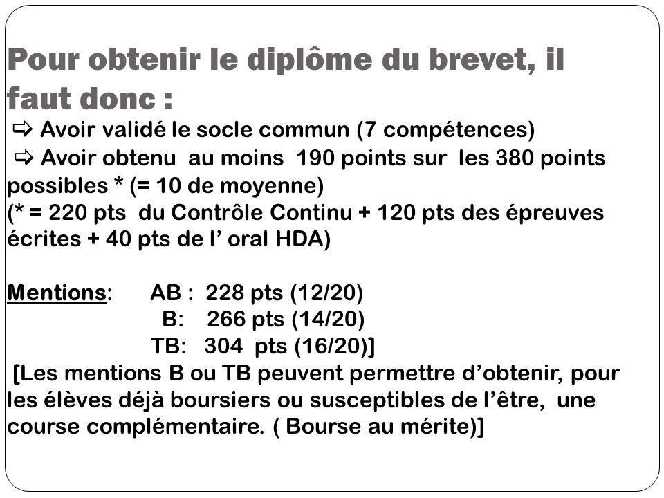 Pour obtenir le diplôme du brevet, il faut donc : Avoir validé le socle commun (7 compétences) Avoir obtenu au moins 190 points sur les 380 points pos