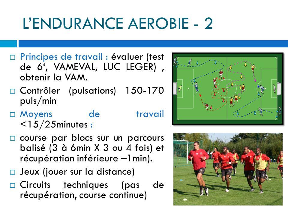 LENDURANCE AEROBIE - 1 Définition : aptitude à se déplacer longtemps à 80 à 85 % de la VMA (seuil anaérobie). Le football nest pas un sport principale