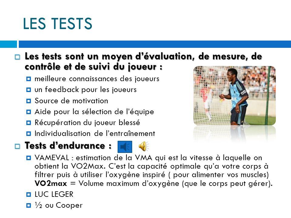 LES TESTS Les tests sont un moyen dévaluation, de mesure, de contrôle et de suivi du joueur : Les tests sont un moyen dévaluation, de mesure, de contrôle et de suivi du joueur : meilleure connaissances des joueurs un feedback pour les joueurs Source de motivation Aide pour la sélection de léquipe Récupération du joueur blessé Individualisation de lentraînement Tests dendurance : Tests dendurance : VAMEVAL : estimation de la VMA qui est la vitesse à laquelle on obtient la VO2Max.