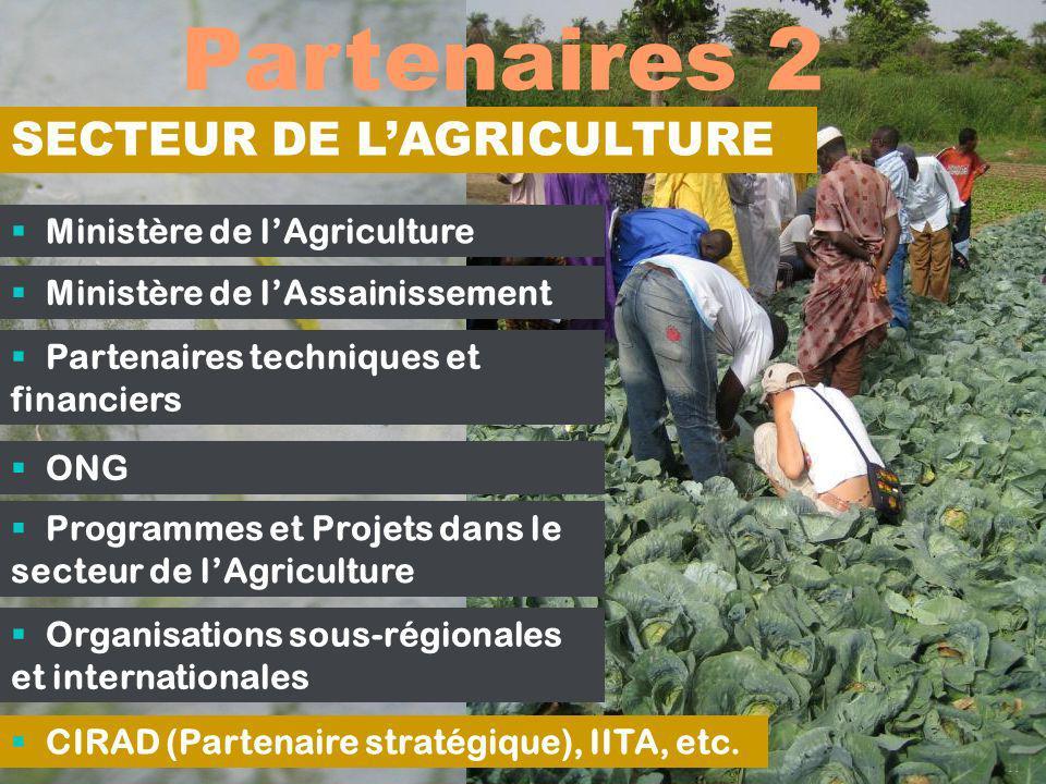 Partenaires 2 11 Ministère de lAgriculture Ministère de lAssainissement Partenaires techniques et financiers ONG Programmes et Projets dans le secteur