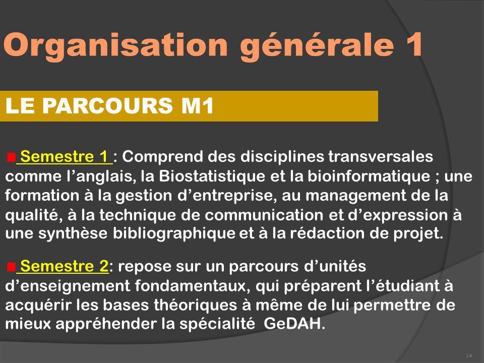 Organisation générale 1 14 LE PARCOURS M1 Semestre 1 : Comprend des disciplines transversales comme langlais, la Biostatistique et la bioinformatique