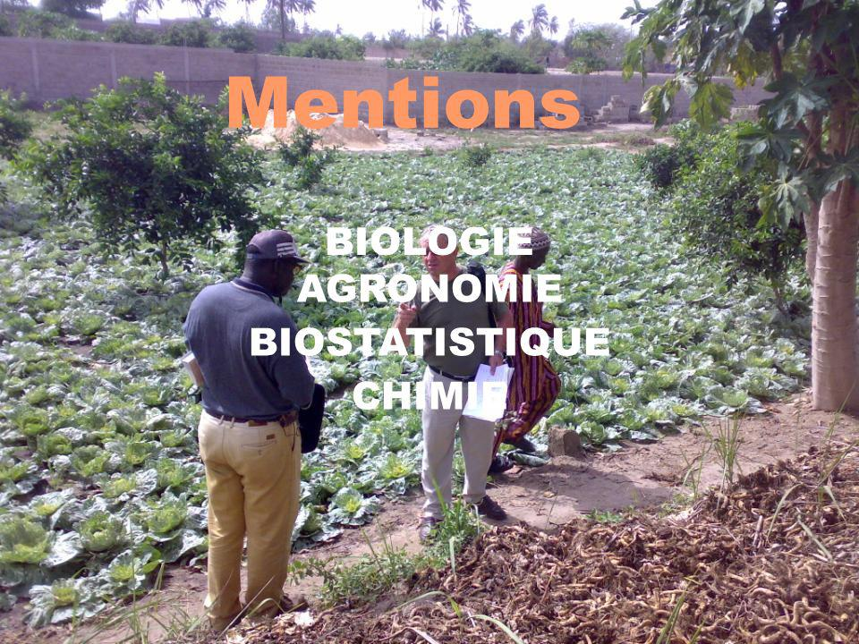 Mentions 3 BIOLOGIE AGRONOMIE BIOSTATISTIQUE CHIMIE