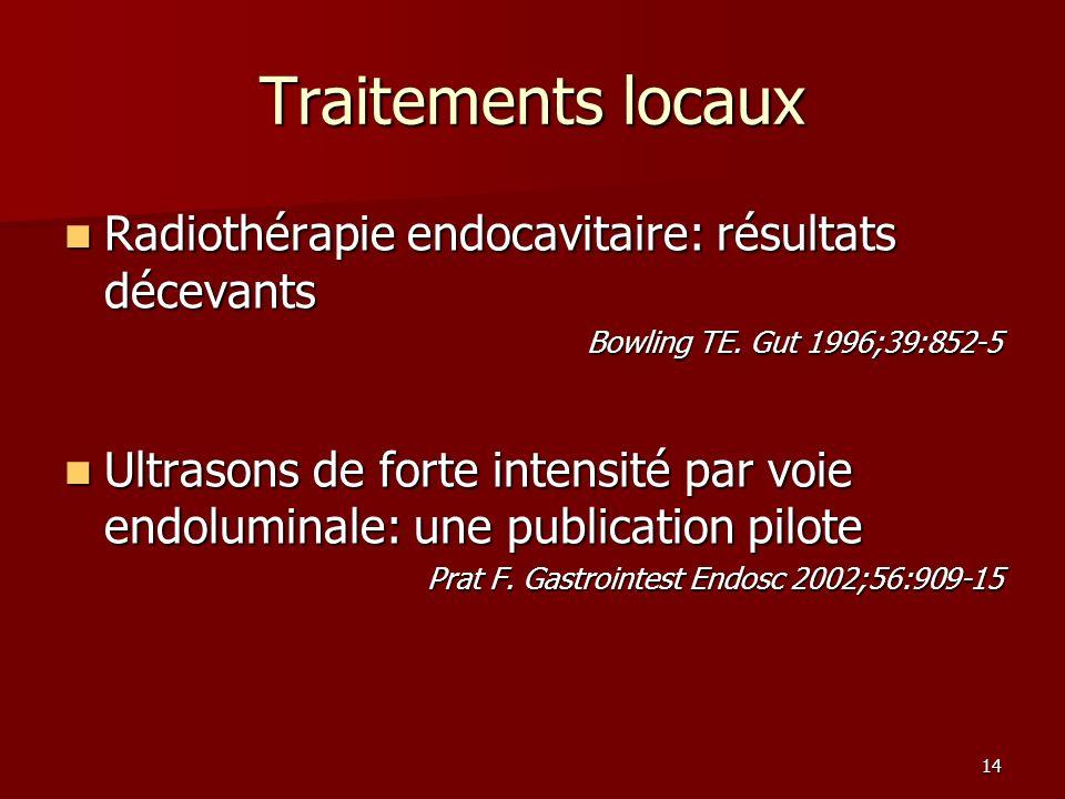 14 Traitements locaux Radiothérapie endocavitaire: résultats décevants Radiothérapie endocavitaire: résultats décevants Bowling TE.