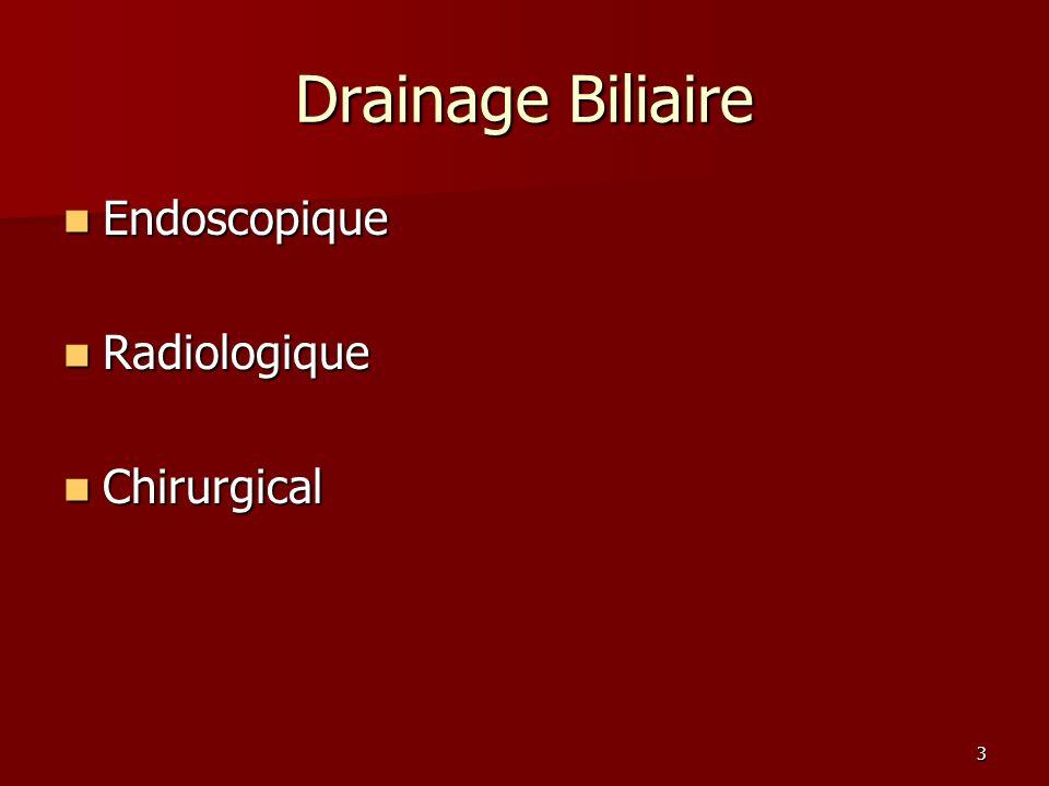 24 Drainage biliaire: TDM +/- cholangio-IRM 1 ère intention: Endoscopie Surtout Bismuth I ou II 2 ème intention: Drainage percutanée Place des traitements locaux à définir
