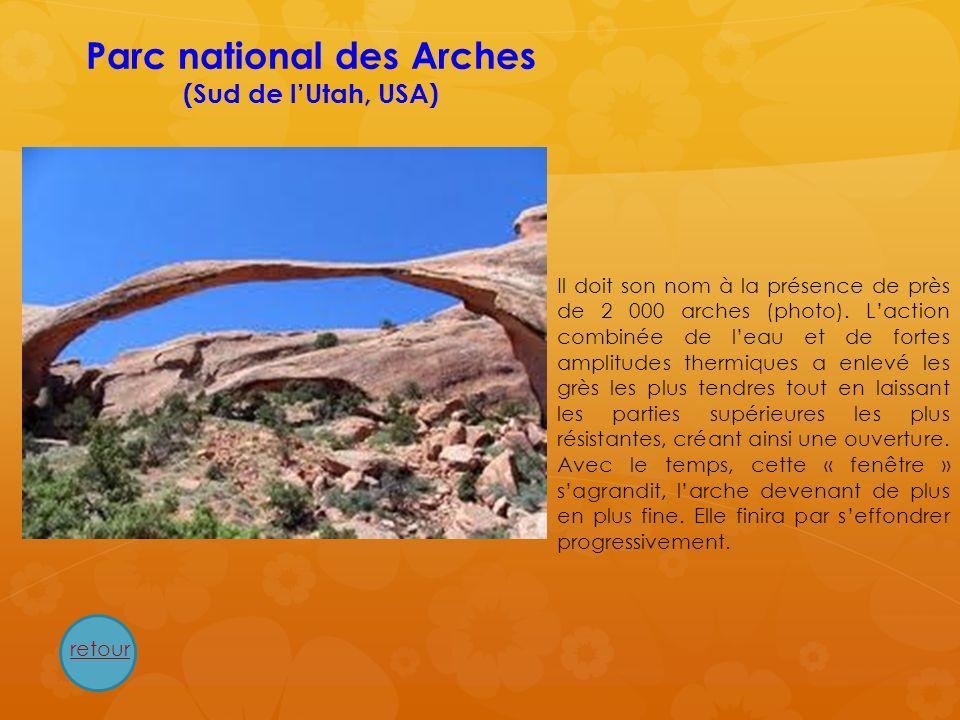 Parc national des Arches (Sud de lUtah, USA) Il doit son nom à la présence de près de 2 000 arches (photo). Laction combinée de leau et de fortes ampl