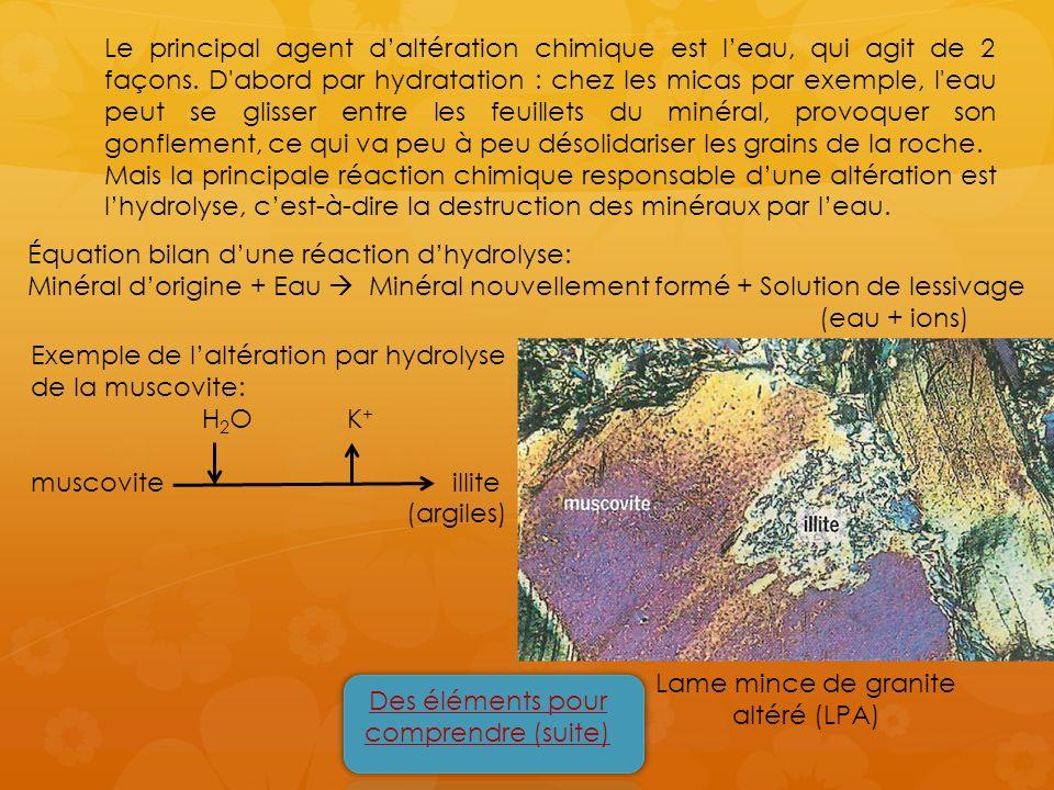 Le principal agent daltération chimique est leau, qui agit de 2 façons. D'abord par hydratation : chez les micas par exemple, l'eau peut se glisser en