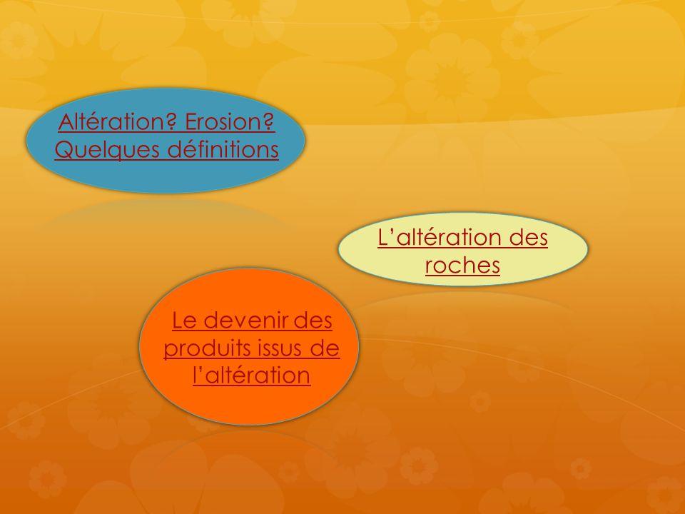 Laltération regroupe les processus physiques, chimiques et biologiques qui conduisent de la roche saine à ses produits de décomposition.