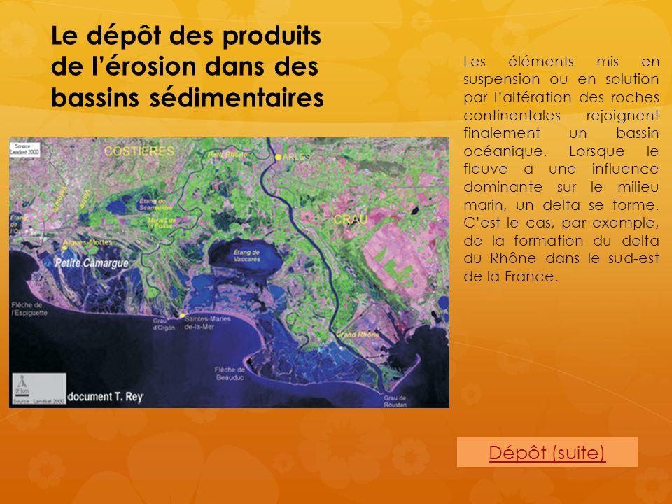 Le dépôt des produits de lérosion dans des bassins sédimentaires Dépôt (suite) Les éléments mis en suspension ou en solution par laltération des roche