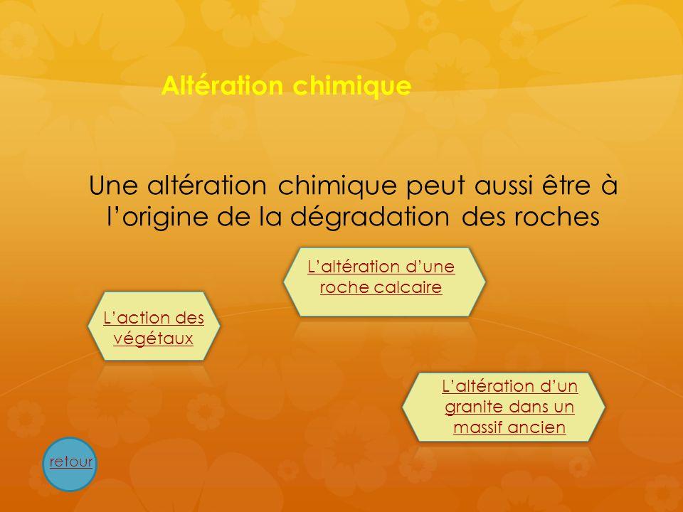 Altération chimique Une altération chimique peut aussi être à lorigine de la dégradation des roches retour Laction des végétaux Laltération dune roche