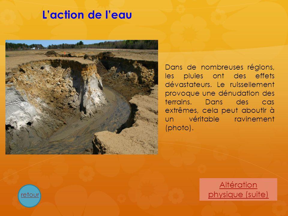 Altération physique (suite) Dans les régions où leau subit des phénomènes de gel – dégel, elle peut entraîner la fracturation des roches.