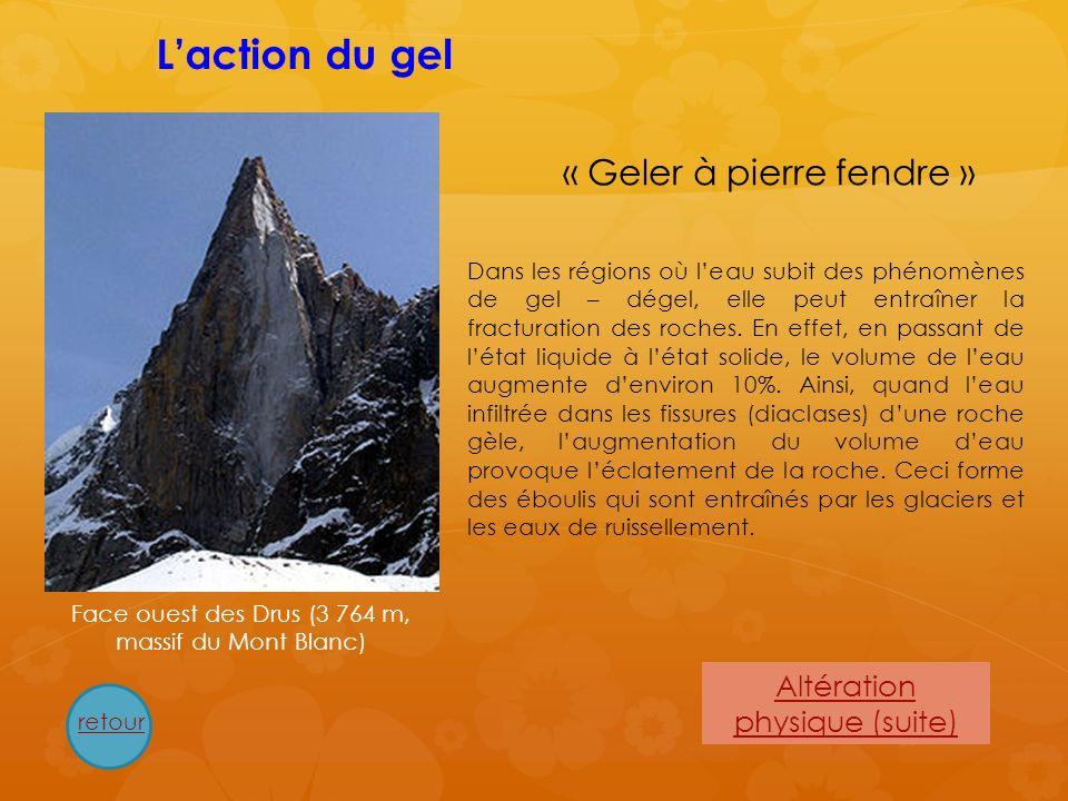 Altération physique (suite) Dans les régions où leau subit des phénomènes de gel – dégel, elle peut entraîner la fracturation des roches. En effet, en