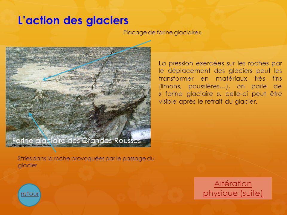 Laction des glaciers Placage de farine glaciaire » La pression exercées sur les roches par le déplacement des glaciers peut les transformer en matéria