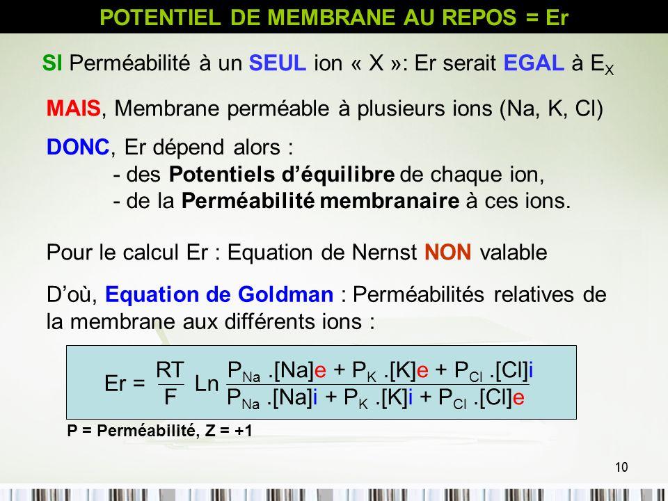10 Doù, Equation de Goldman : Perméabilités relatives de la membrane aux différents ions : POTENTIEL DE MEMBRANE AU REPOS = Er SI Perméabilité à un SE