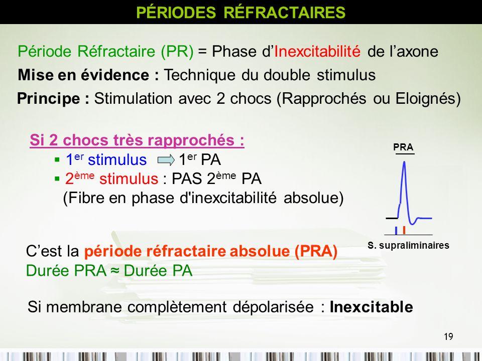 19 PÉRIODES RÉFRACTAIRES Période Réfractaire (PR) = Phase dInexcitabilité de laxone Mise en évidence : Technique du double stimulus Principe : Stimula