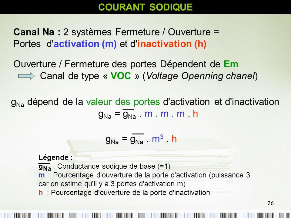 26 COURANT SODIQUE Canal Na : 2 systèmes Fermeture / Ouverture = Portes d'activation (m) et d'inactivation (h) Ouverture / Fermeture des portes Dépend