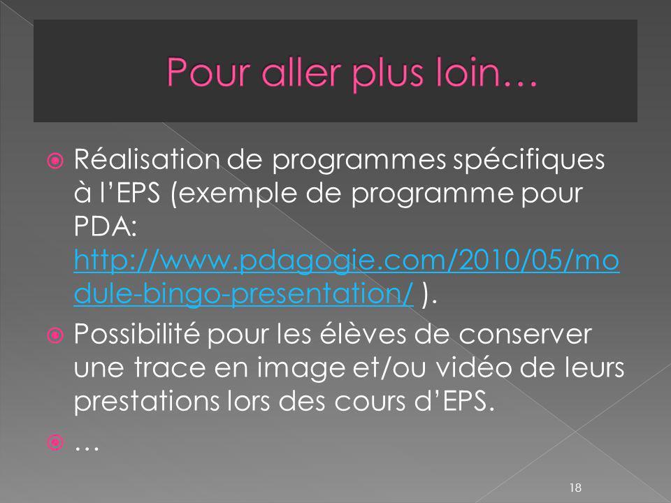 Réalisation de programmes spécifiques à lEPS (exemple de programme pour PDA: http://www.pdagogie.com/2010/05/mo dule-bingo-presentation/ ).