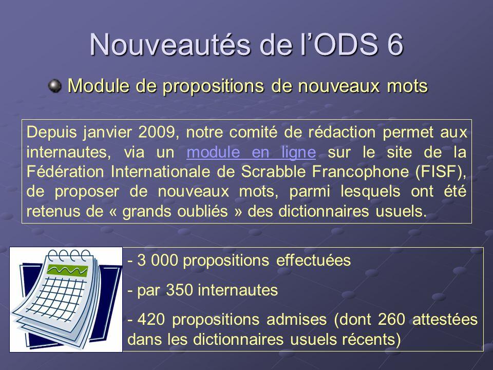 Nouveautés de lODS 6 Module de propositions de nouveaux mots Module de propositions de nouveaux mots - 3 000 propositions effectuées - par 350 interna