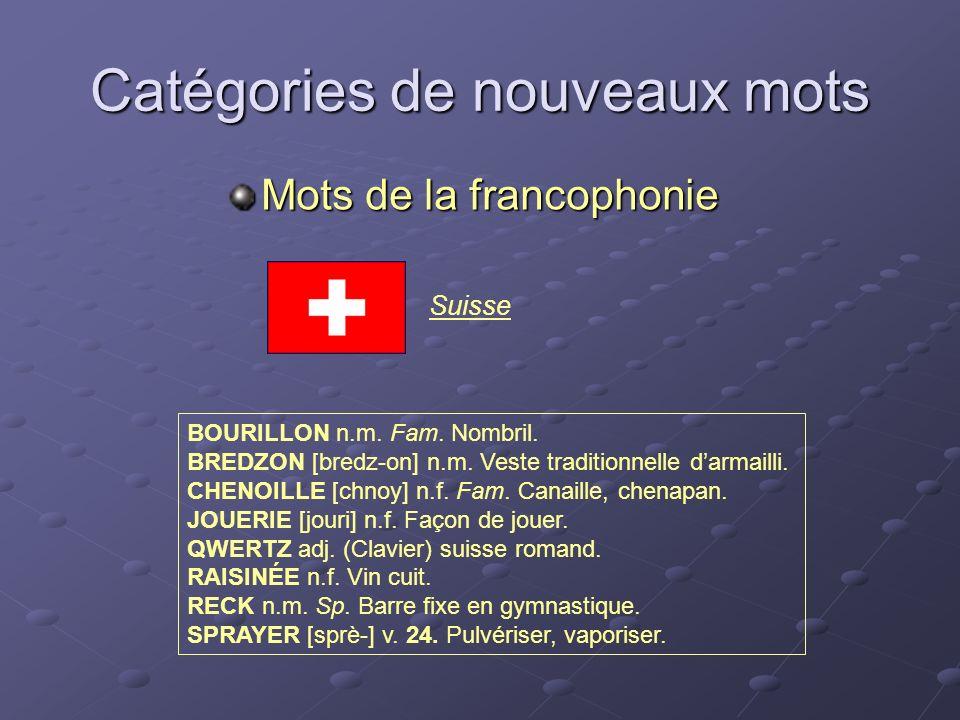 Suisse Catégories de nouveaux mots Mots de la francophonie BOURILLON n.m. Fam. Nombril. BREDZON [bredz-on] n.m. Veste traditionnelle darmailli. CHENOI