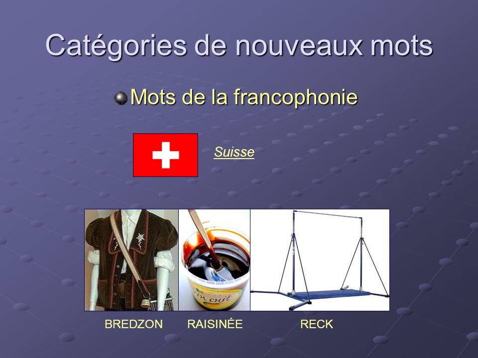 Catégories de nouveaux mots Mots de la francophonie RAISINÉEBREDZONRECK Suisse