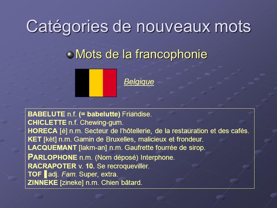 Belgique Catégories de nouveaux mots Mots de la francophonie BABELUTE n.f. (= babelutte) Friandise. CHICLETTE n.f. Chewing-gum. HORECA [é] n.m. Secteu