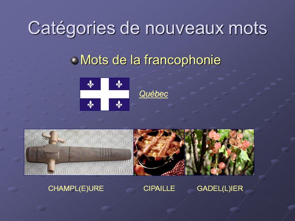 Catégories de nouveaux mots Mots de la francophonie CHAMPL(E)UREGADEL(L)IER Québec CIPAILLE