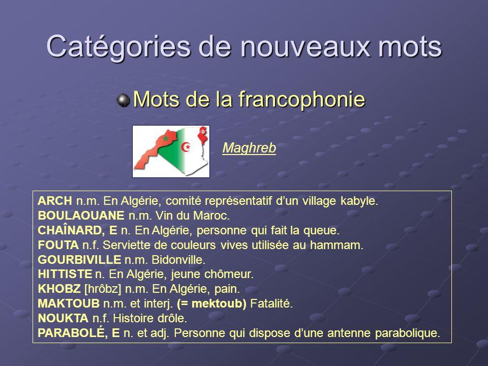 Maghreb Catégories de nouveaux mots Mots de la francophonie ARCH n.m. En Algérie, comité représentatif dun village kabyle. BOULAOUANE n.m. Vin du Maro