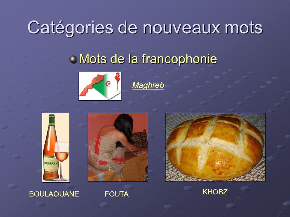 Catégories de nouveaux mots Mots de la francophonie BOULAOUANE KHOBZ Maghreb FOUTA