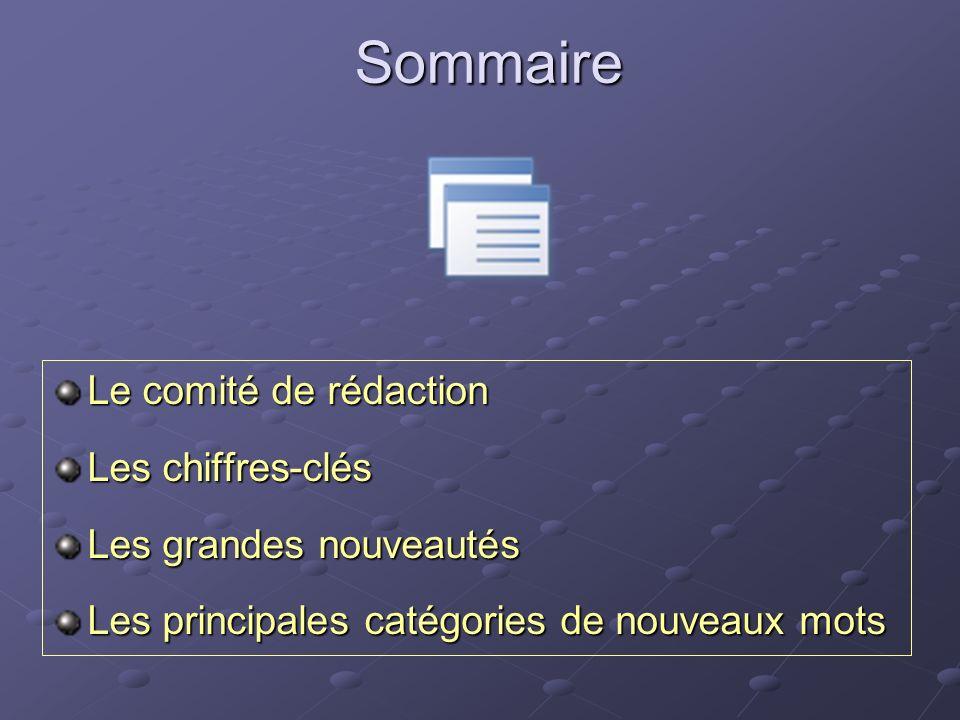 Sommaire Le comité de rédaction Les chiffres-clés Les grandes nouveautés Les principales catégories de nouveaux mots