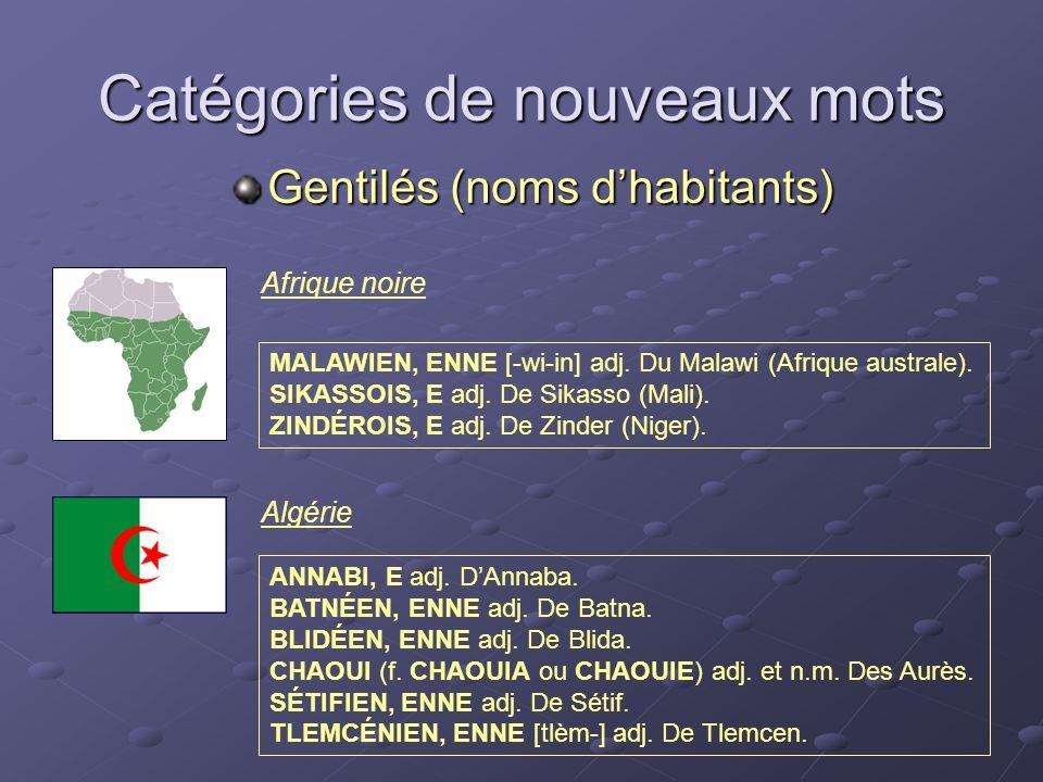 Catégories de nouveaux mots Gentilés (noms dhabitants) MALAWIEN, ENNE [-wi-in] adj. Du Malawi (Afrique australe). SIKASSOIS, E adj. De Sikasso (Mali).