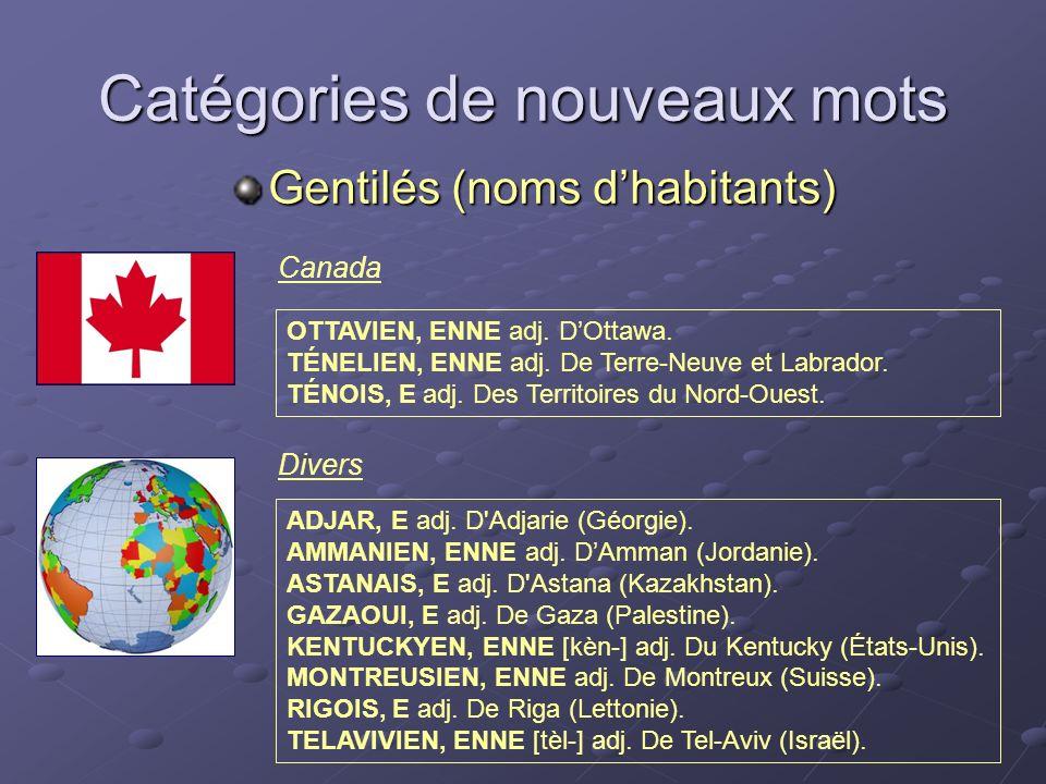 Catégories de nouveaux mots Gentilés (noms dhabitants) OTTAVIEN, ENNE adj. DOttawa. TÉNELIEN, ENNE adj. De Terre-Neuve et Labrador. TÉNOIS, E adj. Des