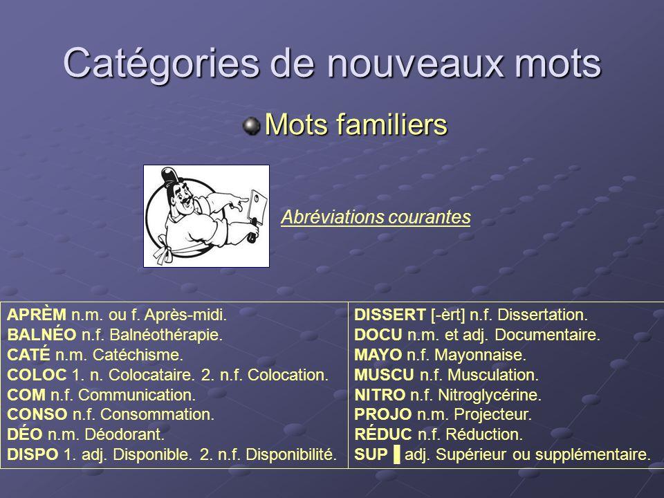 Abréviations courantes Catégories de nouveaux mots Mots familiers DISSERT [-èrt] n.f. Dissertation. DOCU n.m. et adj. Documentaire. MAYO n.f. Mayonnai