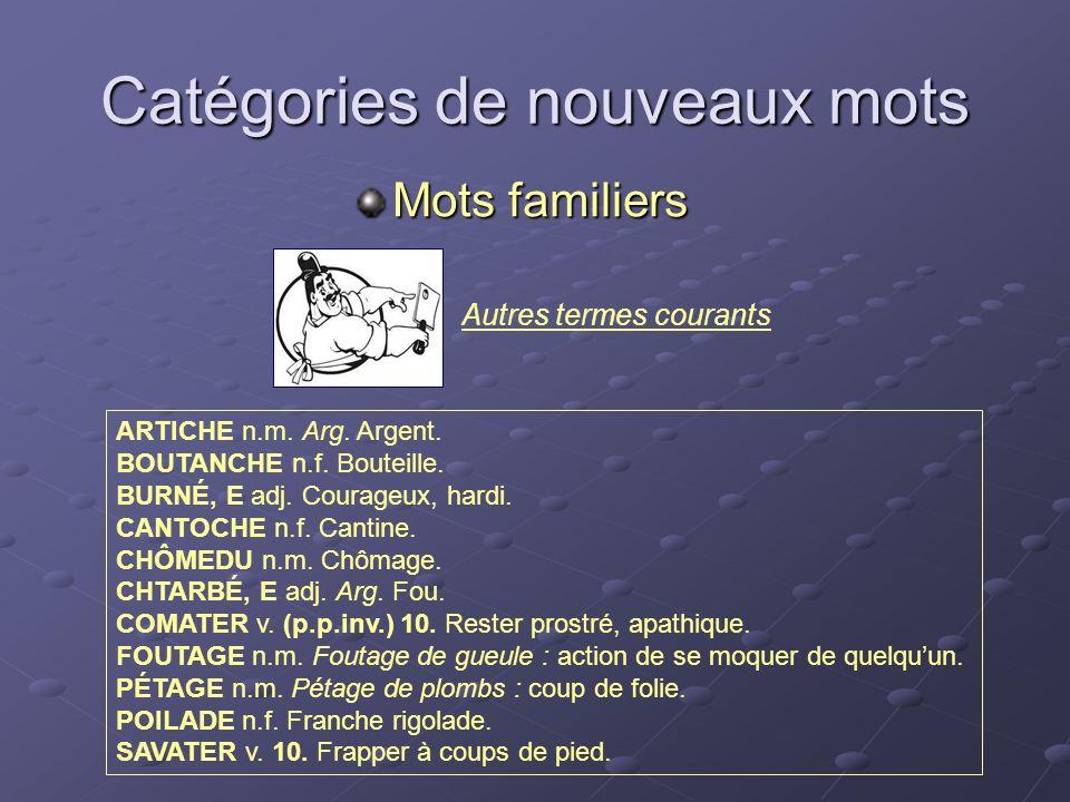 Autres termes courants Catégories de nouveaux mots Mots familiers ARTICHE n.m. Arg. Argent. BOUTANCHE n.f. Bouteille. BURNÉ, E adj. Courageux, hardi.