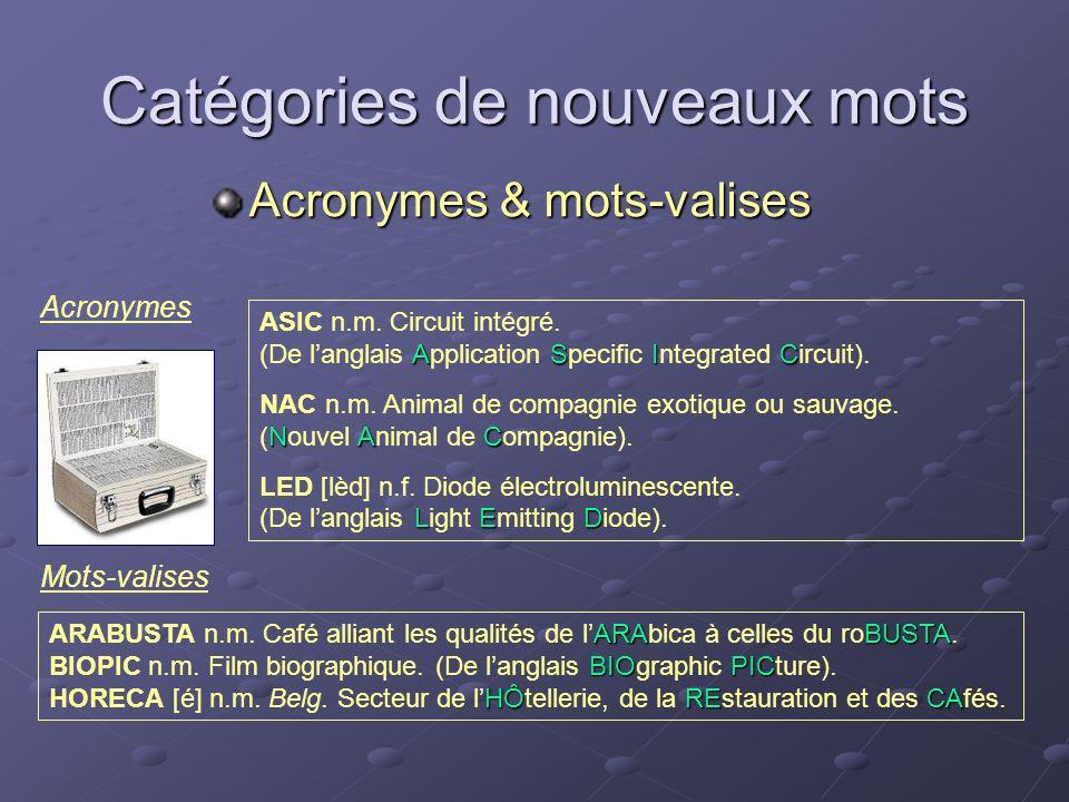 Catégories de nouveaux mots Acronymes & mots-valises ASIC n.m. Circuit intégré. ASIC (De langlais Application Specific Integrated Circuit). NAC n.m. A