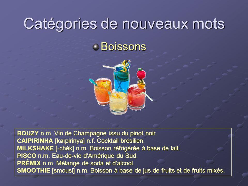 Catégories de nouveaux mots Boissons BOUZY n.m. Vin de Champagne issu du pinot noir. CAIPIRINHA [kaïpirinya] n.f. Cocktail brésilien. MILKSHAKE [-chèk