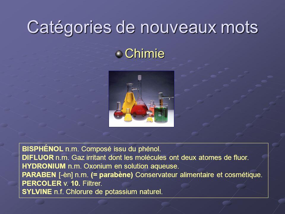 Catégories de nouveaux mots Chimie BISPHÉNOL n.m. Composé issu du phénol. DIFLUOR n.m. Gaz irritant dont les molécules ont deux atomes de fluor. HYDRO