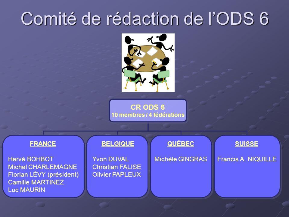 Comité de rédaction de lODS 6 CR ODS 6 10 membres / 4 fédérations CR ODS 6 10 membres / 4 fédérations QUÉBEC Michèle GINGRAS QUÉBEC Michèle GINGRAS SU