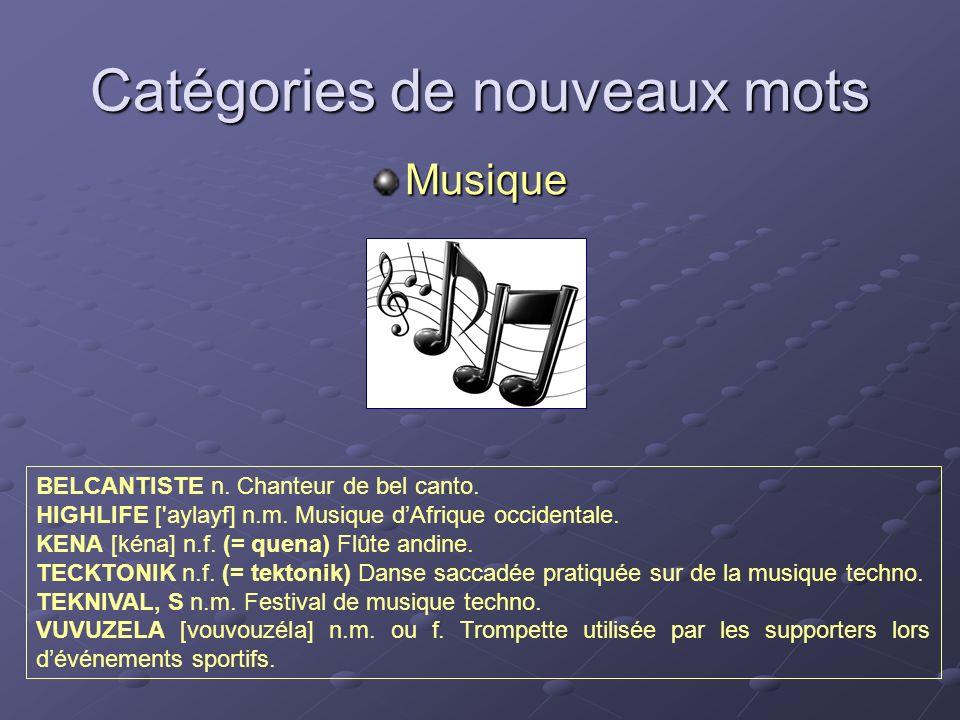 Catégories de nouveaux mots Musique BELCANTISTE n. Chanteur de bel canto. HIGHLIFE ['aylayf] n.m. Musique dAfrique occidentale. KENA [kéna] n.f. (= qu