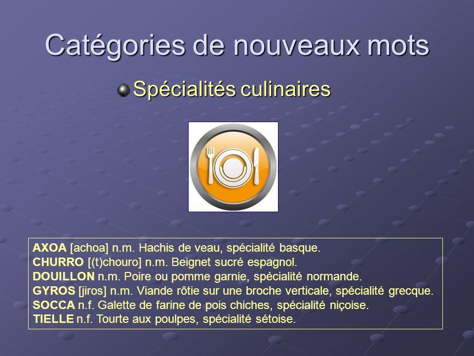 Catégories de nouveaux mots Spécialités culinaires AXOA [achoa] n.m. Hachis de veau, spécialité basque. CHURRO [(t)chouro] n.m. Beignet sucré espagnol