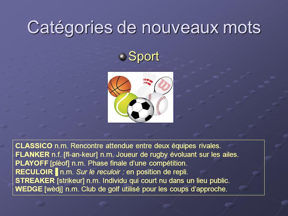 Catégories de nouveaux mots Sport CLASSICO n.m. Rencontre attendue entre deux équipes rivales. FLANKER n.f. [fl-an-keur] n.m. Joueur de rugby évoluant